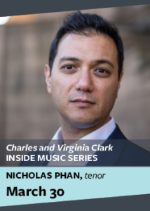 flyer for inside music series with nicholas phan