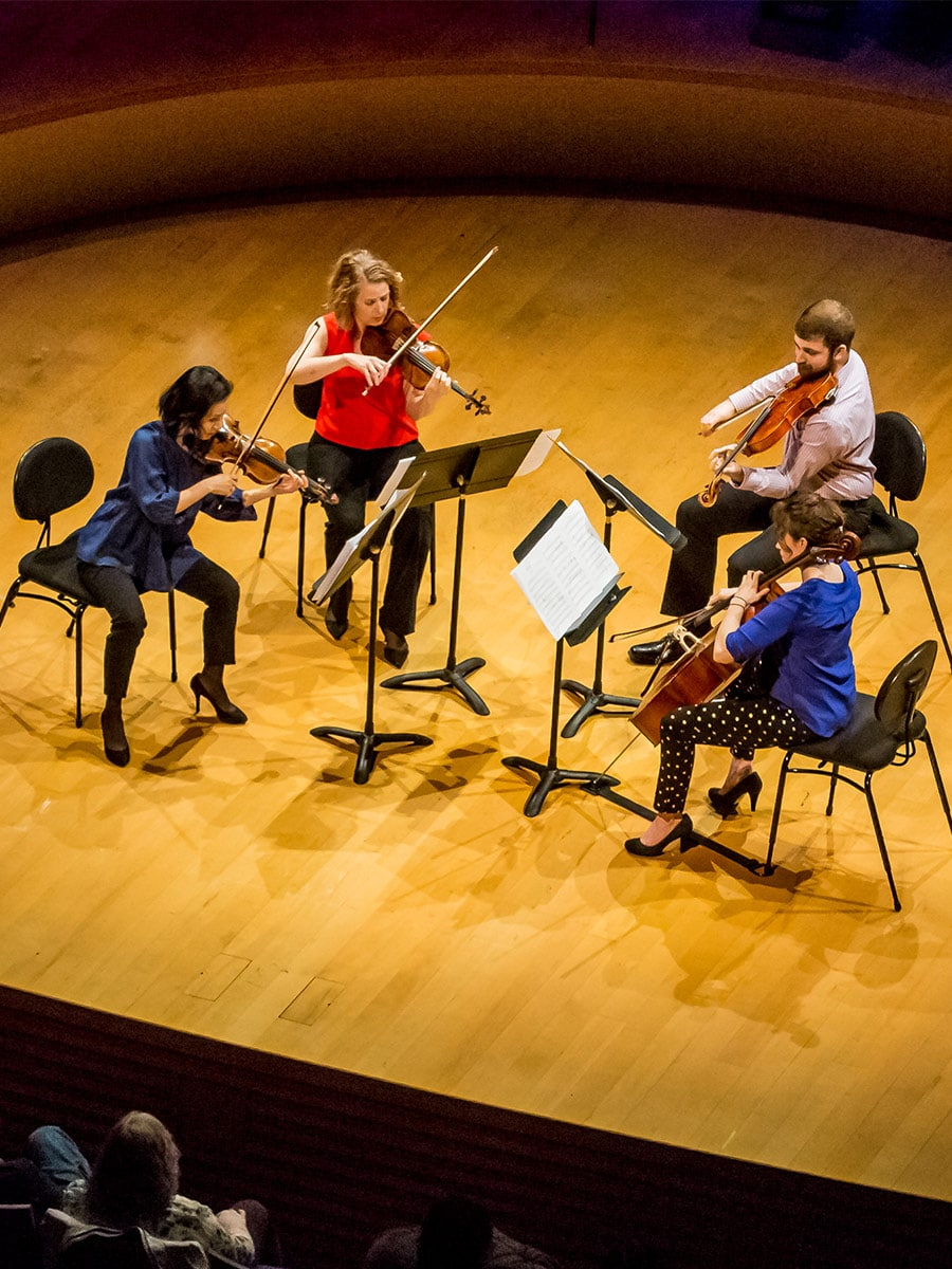 Symphony Chamber Music String Quartet performing on stage in Helzberg Hall