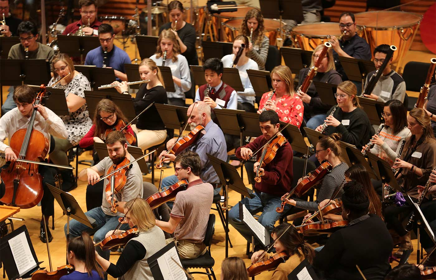 Photo of Kansas City Symphony and the Youth Symphony of Kansas City at the annual Side by Side Rehearsal