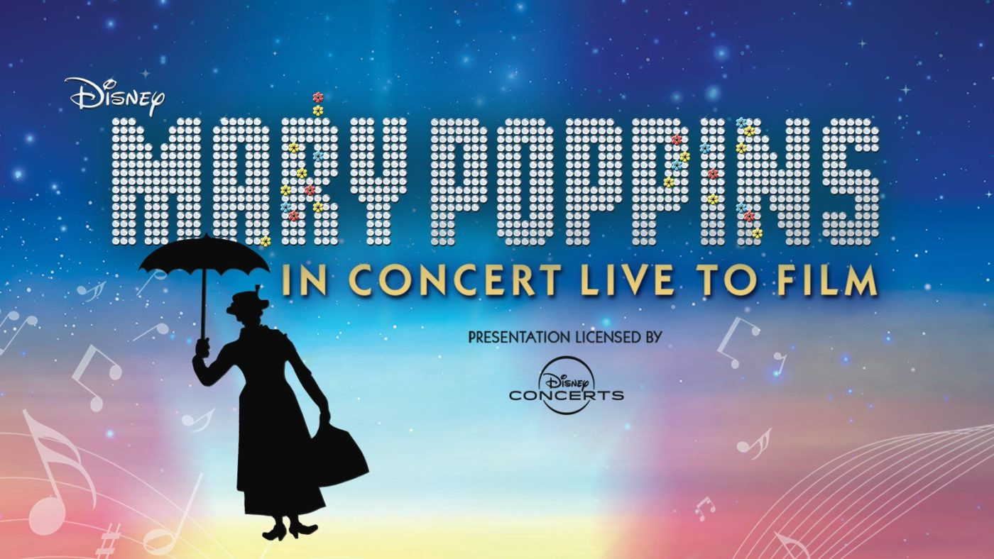 Poster Art for Mary Poppins. Silouette of Mary Poppins floating up into the sky.