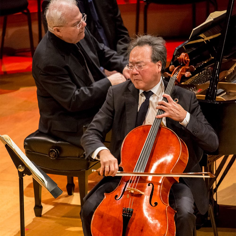 Cellist Yo-Yo Ma and Pianist Emanuel Ax on stage in Helzberg Hall with the Kansas City Symphony