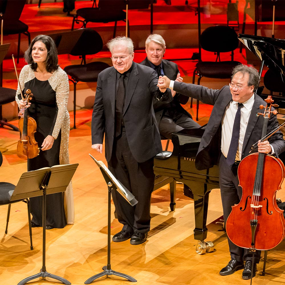 Violinist Pamela Frank, Pianist Emanuel Ax and Cellist Yo-Yo Ma on stage in Helzberg Hall