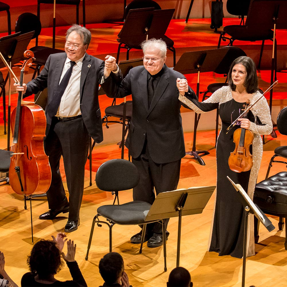 Cellist Yo-Yo Ma, Pianist Emanuel Ax and Violinist Pamela Frank on stage in Helzberg Hall