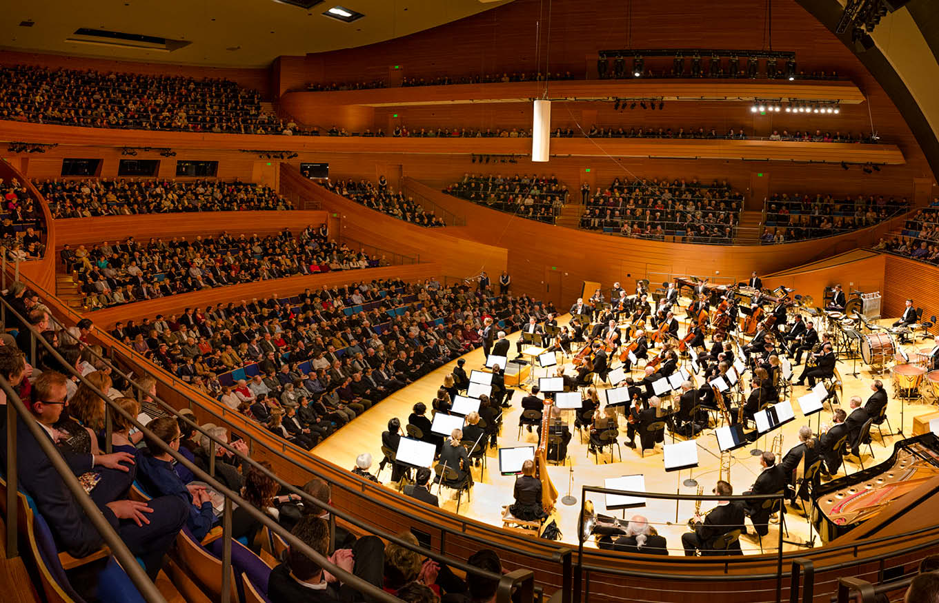 Photo of Helzberg Hall with the Kansas City Symphony on stage.
