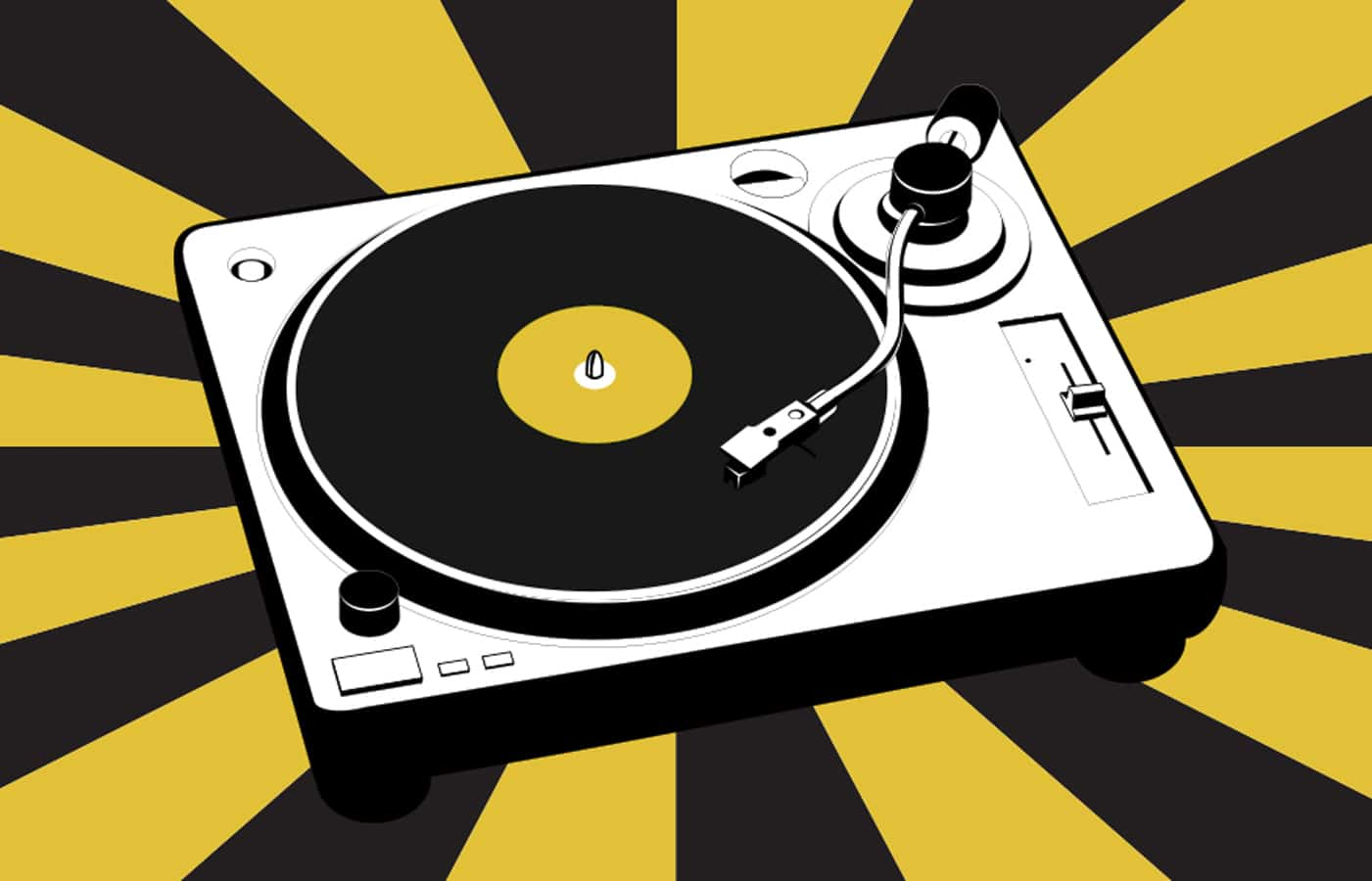 Illustration of a turntable on a yellow and black striped background
