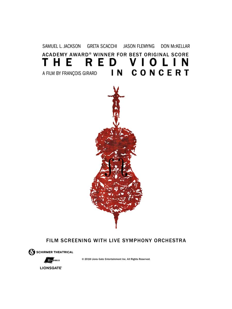 Poster for the Red Violin in Concert. Illustration of a violin
