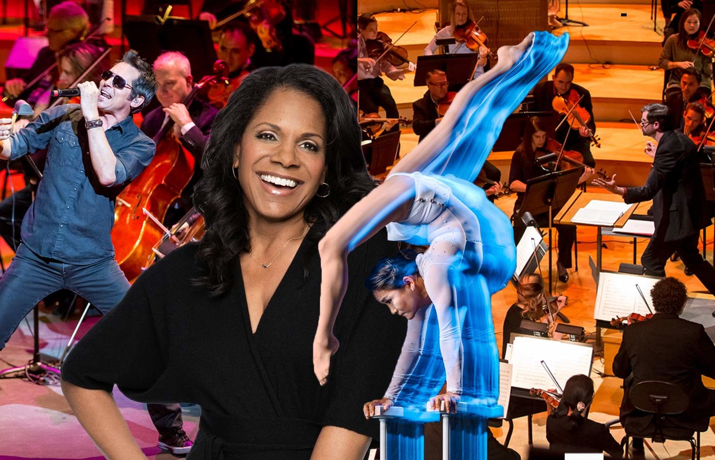 Photo collage of The Kansas City Symphony, Troupe Cirque and Audra McDonald