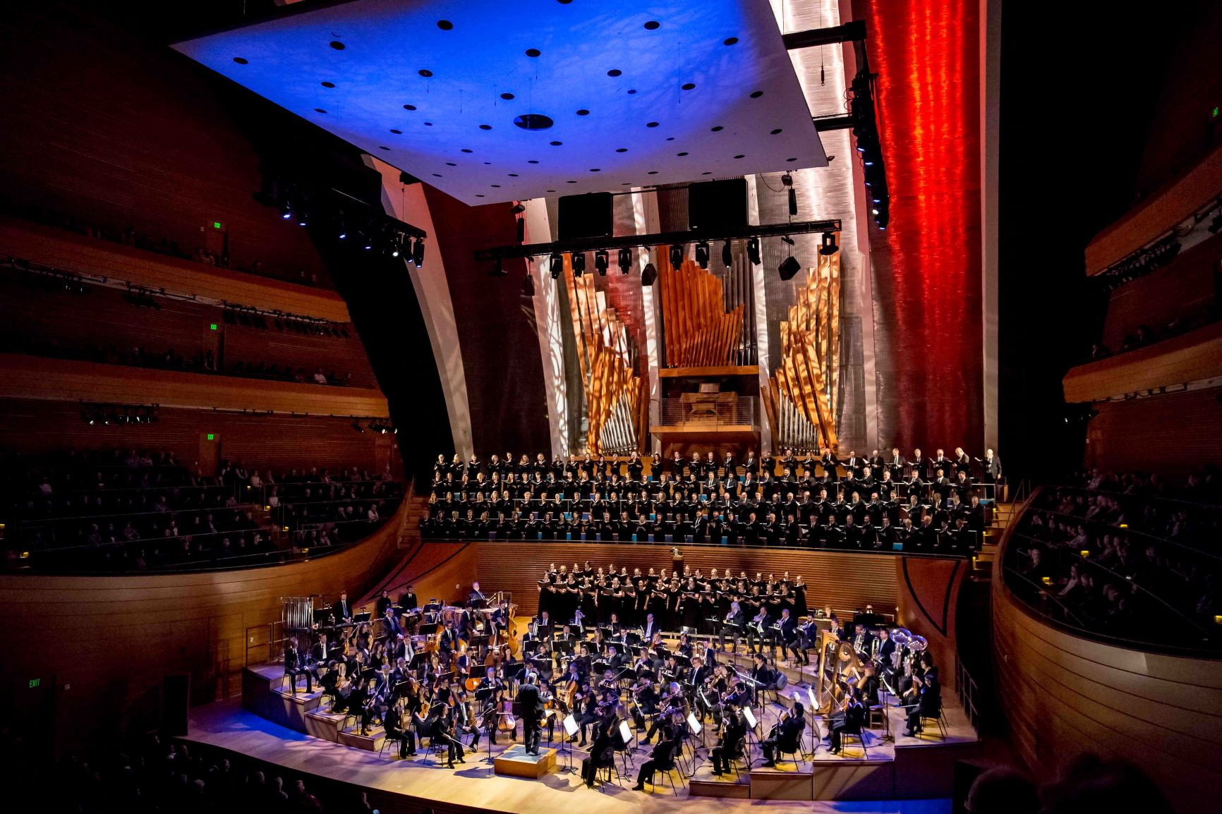 Kansas City Symphony in Helzberg Hall - blue, white and red lighting