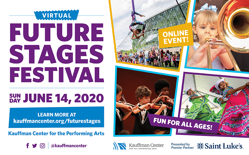 Future Stages Festival banner with date and social media icons, children playing instruments, an acrobat and dancers, logos of sponsors
