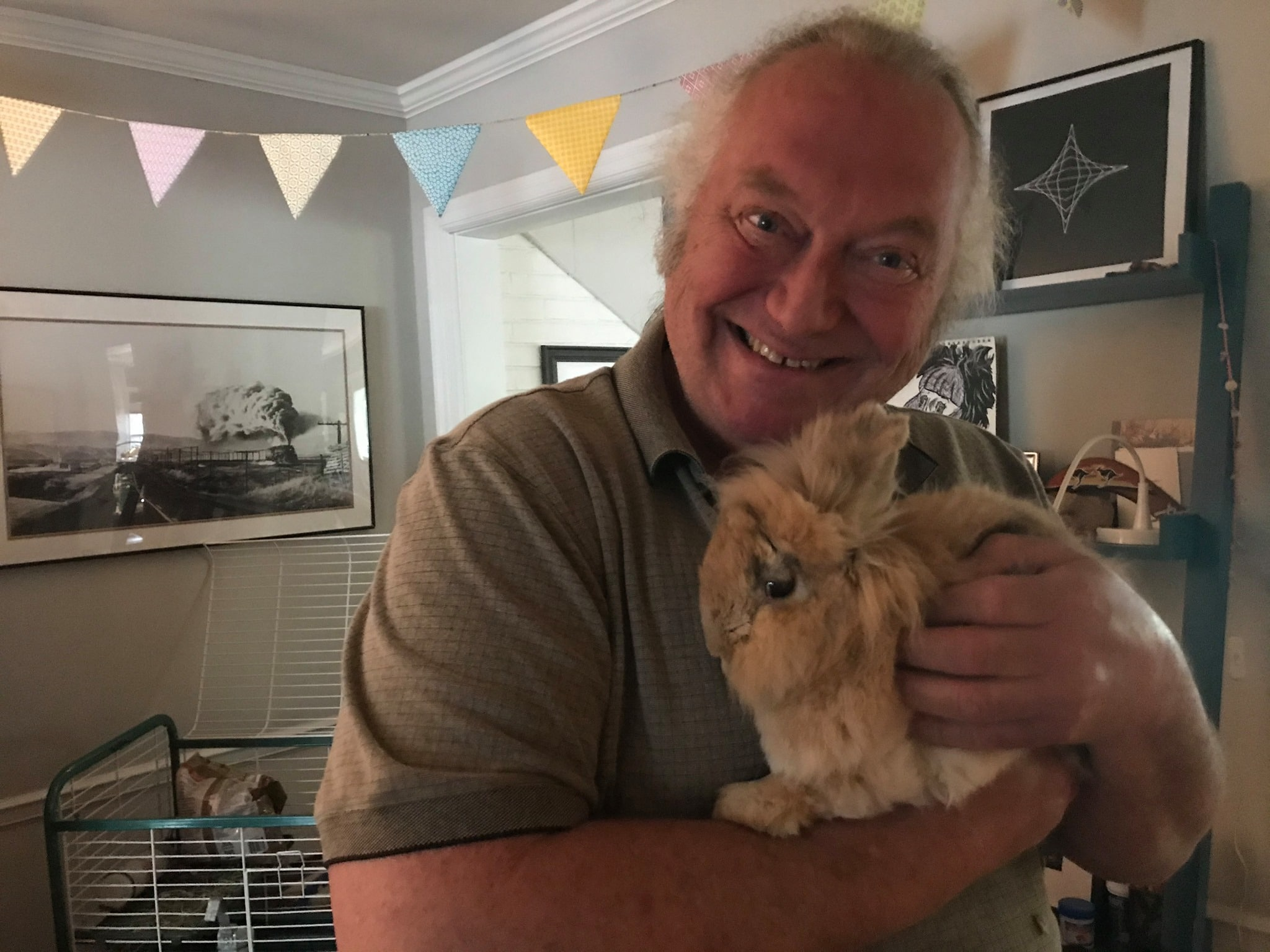 Roger Oyster with Clover the rabbit